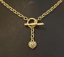"9Ct Yellow Gold 17"" Hollow Belcher (4mm width) w/ Tbar & Filgree Heart Charm"