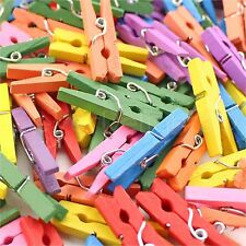 "500 Mini Clothespins - 1 1/8"" Wooden Clips - Mixed Colors - Craft Clothes Pins"