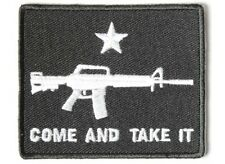 "(H2) COME & TAKE IT MACHINE GUN 3"" x 2.5"" iron on patch (4089) Biker Patches"