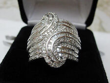 Huge 1 Carat Round Baguette Diamond Fashion Statement Cocktail Ring Silver Sz 9