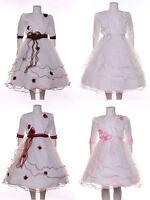 2tlg. Mädchen Fest Kleid Kommunionskleid Bolero Taufe Hochzeit Kinder Kleid NEU