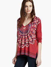 Lucky Brand Womens XL V-neck Mandala Tee Red with Print 3/4 Sleeve NWT