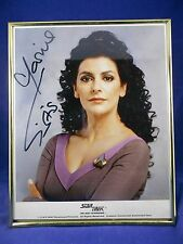 Star Trek Next Gen Marina Sirtis as Troy Autograph Photo in Polished Brass Frame