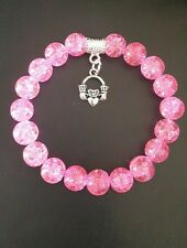 Claddagh Ciondolo Rosa 10mm Crackle Glass Bead Bracciale Amore Irlandese Regalo di Natale