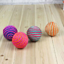 2x Cat Kitten Sisal Rope Weave Ball Teaser Chewing Rattle Catch Toy Hot