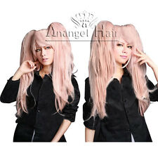Danganronpa Junko Enoshima Cosplay wig Long Synthetic Hair Pink Wavy Wigs+Cap