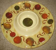 Chip n Dip Holiday Glow Pear Ornament Plate Platter Serving Bowl Server Plastic