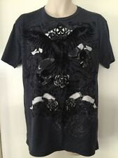 Point Zero Multi Color Crow Rose Skull Halloween Graphic T Shirt Size Large