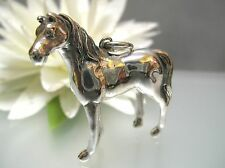 Handcraft solid sterling silver 3D standing Steed Horse miniature pendant 17.5g