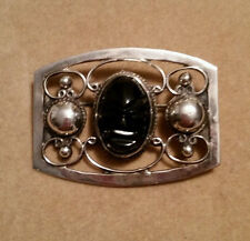 MEXICO STERLING SILVER 925 Black ONYX STONE CARVED MASK Vintage PIN BROOCH