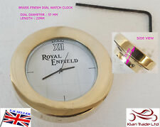 NEW ROYAL ENFIELD LOGO WHITE DIAL BRASS STEM NUT/HANDLE T NUT CLOCK WATCH CLOCK