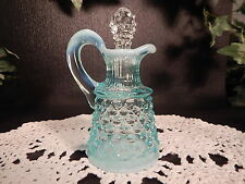 SMALL VINTAGE FENTON GLASS HOBNAIL BLUE OPALESCENT CRUET  4.5 INCH
