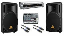 Behringer NU1000 Power Amp + 2X B212XL 800W Speakers + 1202FX 12-Channel Mixer
