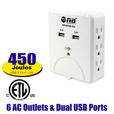 Wall Outlet charging center for USB electronics 22-6450-31U 6 AC & Dual USB