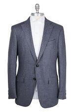 Ermenegildo Zegna Silk & Cashmere 38US/48EU Sport Coat Blue Gray Brown Checked