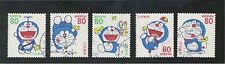 JAPAN 1997 GREETINGS DORAEMON COMP. SET OF 5 STAMPS SC#2564-2568 IN FINE USED