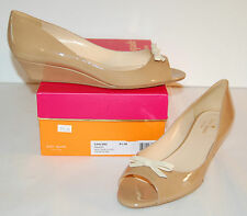 New $275 kate spade New York Tracey Camel Patent Leather Wedge Pump Classic 9.5