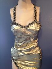 Vintage VLV 50s Style Gold Metallic Bombshell Maxi Gown Sexy Pinup Wiggle Slit S