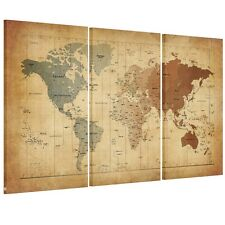 3Pc Retro World Map Framed HD Canvas Prints Wall Art Paintings- Ready To Hang