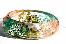 Handmade Real Flower Botanical Garden Resin Bangle Bracelet.{37}zz