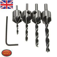 4pcs HSS 5 Flute Countersink Drill Bit Set Screw Woodworking Chamfer Tool 3-6mm