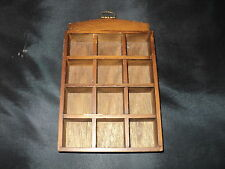 Thimble wooden display case with wall hook holds 12 thimbles  code c12a