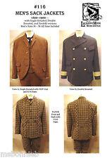Men's Sack Jacket 1860-1900 sz 34-58 w/3 Views Laughing Moon Sewing Pattern 116