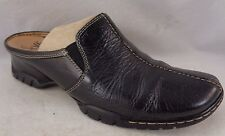 SOFFT Shoes 6.5M Black Leather Low Wedge Mocs Mules Slip Ons