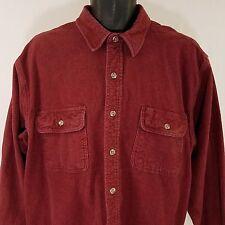 Field & Stream Chamois Shirt Vtg Long Sleeve Heavy Flannel Maroon Mens Sz XL EUC