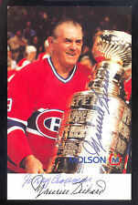 MAURICE RICHARD PHOTO POST CARD HAND SIGNED AUTOGRAPH ON CANADIENS STANLEY CUP