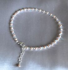 Champagne Pearl and Shiny Fire Polished Crystal Bead Ankle Bracelet 9 to 11 Inch