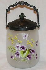 SEAU POT A BISCUIT VERRE EMAILLE ANCIEN STYLE LEGRAS FRENCH ENAMELLED ART GLASS