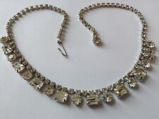 VINTAGE WEISS SIGNED CLEAR RHINESTONE NECKLACE Y7