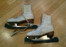 VINTAGE BIANCO Stivali in Pelle Pattini da ghiaccio pattinaggio-ADIDAS CATY