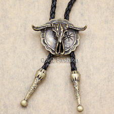 Western Gold Southwest Longhorn Steer Cow Skull Shield Leather Rodeo Bolo Tie