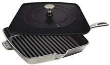 "Staub Cast Iron 12"" Square Cooking Grill Pan & Press Set Graphite Grey NEW"