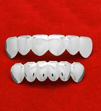 Platinum Plated Stainless Steel Hip Hop Teeth Grillz Top & Bottom Grill Set