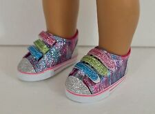 """Fits 18"""" American Girl Doll Glittery Tennis Shoes with Velcro, Accessories"""