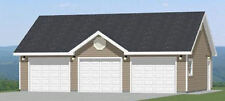 36x24 3-Car Garage -- 864 sq ft -- PDF Floor Plan -- 8/12 roof pitch -- Model 2A
