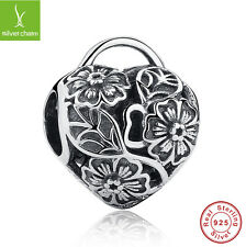 925 Sterling Silver Flower Floral Heart Padlock Bead Charm Bracelet Black Friday