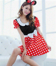 NEW ADULTS MINNIE MOUSE COSTUME FANCY DRESS WITH EARS- LADIES SIZE SMALL