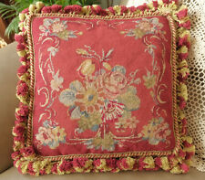 """14"""" Handmade French Country VTG. Aubusson Design Red Needlepoint Pillow"""