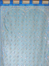 Blue Curtain Panel - Zardozi Embroidered Beaded India Window Treatments 92""