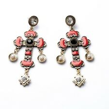 ANTHROPOLOGIE BAROQUE STYLE RED CROSS DROP DANGLE STATEMENT EARRINGS - NEW