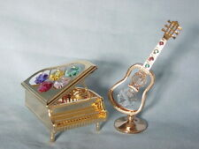 24K GOLD PLATED GRAND PIANO + GUITAR SWAROVSKI CRYSTAL SOUVENIR FROM DUBAI UAE