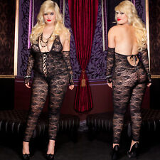 Plus Size Lingerie One Size Queen Black Footless Spandex Bodystocking ML1098Q