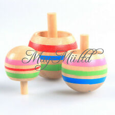 Novelty 3pcs Wooden Colorful Spinning Top Kids Wood Children's Party Toy M