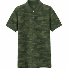UNIQLO 'Camouflage' DRY Pique Printed Classic Polo Shirt M Olive Camo **NEW**