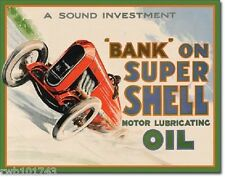 Bank On Super Shell TIN SIGN vtg auto racing metal poster garage wall decor 2016