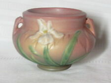 ROSEVILLE POTTERY, IRIS, PINK DOUBLE HANDLED PLANTER, JARDINIERE, LOVELY~~~